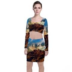 Mountain Sky Landscape Nature Long Sleeve Crop Top & Bodycon Skirt Set