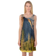 Mountains Landscape Rock Forest Sleeveless Satin Nightdress by Celenk