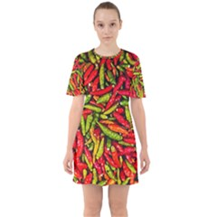 Chilli Pepper Spicy Hot Red Spice Sixties Short Sleeve Mini Dress