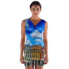 Buildings Architecture Architectural Wrap Front Bodycon Dress by Celenk