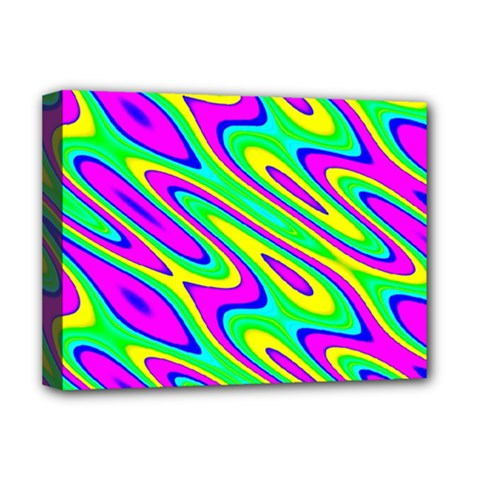 Lilac Yellow Wave Abstract Pattern Deluxe Canvas 16  X 12   by Celenk