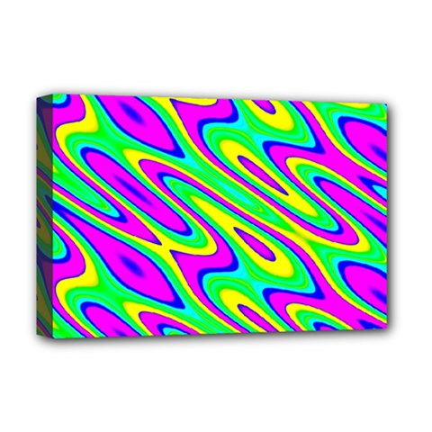 Lilac Yellow Wave Abstract Pattern Deluxe Canvas 18  X 12   by Celenk