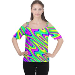 Lilac Yellow Wave Abstract Pattern Cutout Shoulder Tee by Celenk