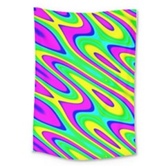 Lilac Yellow Wave Abstract Pattern Large Tapestry by Celenk