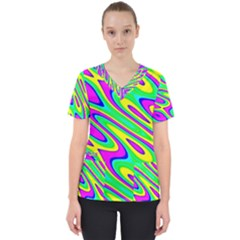 Lilac Yellow Wave Abstract Pattern Scrub Top by Celenk