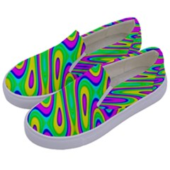 Lilac Yellow Wave Abstract Pattern Kids  Canvas Slip Ons by Celenk