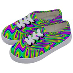 Lilac Yellow Wave Abstract Pattern Kids  Classic Low Top Sneakers by Celenk