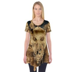 Skull Demon Scary Halloween Horror Short Sleeve Tunic  by Celenk