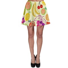 Cute Fruits Pattern Skater Skirt by paulaoliveiradesign