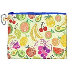 Cute Fruits Pattern Canvas Cosmetic Bag (xxl) by paulaoliveiradesign
