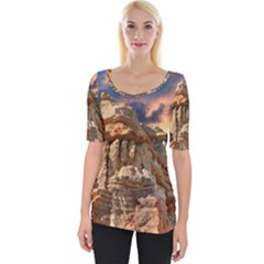 Canyon Dramatic Landscape Sky Wide Neckline Tee by Celenk