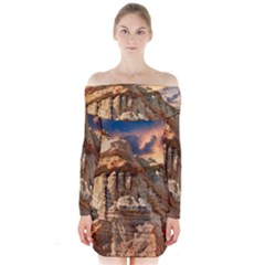 Canyon Dramatic Landscape Sky Long Sleeve Off Shoulder Dress by Celenk
