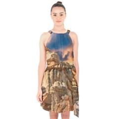 Canyon Dramatic Landscape Sky Halter Collar Waist Tie Chiffon Dress by Celenk
