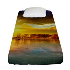 Landscape Lake Sun Sky Nature Fitted Sheet (single Size) by Celenk