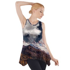 Mountain Sky Landscape Hill Rock Side Drop Tank Tunic by Celenk