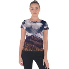 Mountain Sky Landscape Hill Rock Short Sleeve Sports Top  by Celenk