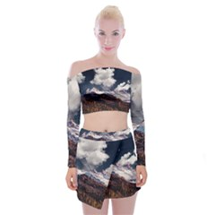 Mountain Sky Landscape Hill Rock Off Shoulder Top With Mini Skirt Set by Celenk