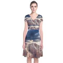 Nature Landscape Clouds Sky Rocks Short Sleeve Front Wrap Dress by Celenk