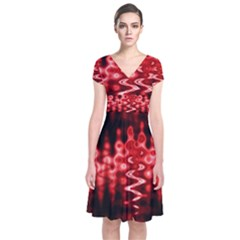 Red And Black Wave Pattern Short Sleeve Front Wrap Dress by Celenk