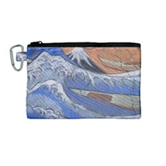 Harvard Mayfair Hokusai Chalk Wave Fuji Canvas Cosmetic Bag (medium) by Celenk