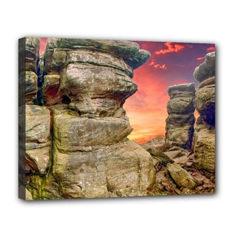 Rocks Landscape Sky Sunset Nature Canvas 14  X 11  by Celenk
