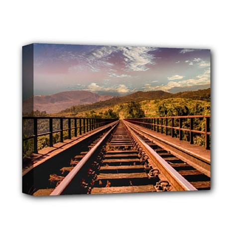 Railway Track Travel Railroad Deluxe Canvas 14  X 11