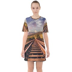 Railway Track Travel Railroad Sixties Short Sleeve Mini Dress