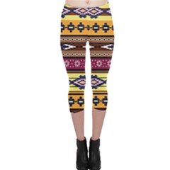 Colorful Tribal Art   Boho Pattern Capri Leggings