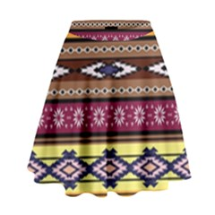 Colorful Tribal Art   Boho Pattern High Waist Skirt by tarastyle