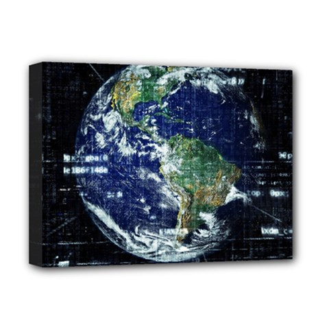 Earth Internet Globalisation Deluxe Canvas 16  X 12   by Celenk