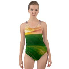 Hills Countryside Sky Rural Cut Out Back One Piece Swimsuit