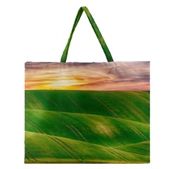 Hills Countryside Sky Rural Zipper Large Tote Bag