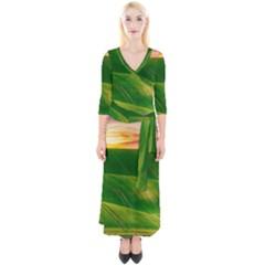 Hills Countryside Sky Rural Quarter Sleeve Wrap Maxi Dress