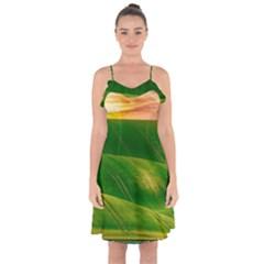 Hills Countryside Sky Rural Ruffle Detail Chiffon Dress