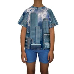 Tower Blocks Skyscraper City Modern Kids  Short Sleeve Swimwear
