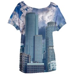 Tower Blocks Skyscraper City Modern Women s Oversized Tee by Celenk