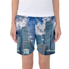 Tower Blocks Skyscraper City Modern Women s Basketball Shorts by Celenk