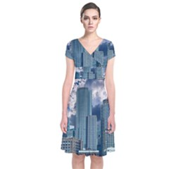 Tower Blocks Skyscraper City Modern Short Sleeve Front Wrap Dress by Celenk