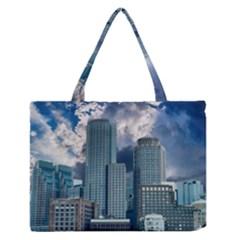 Tower Blocks Skyscraper City Modern Zipper Medium Tote Bag by Celenk