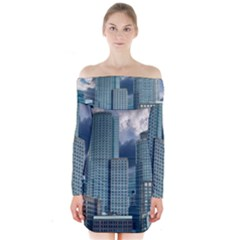 Tower Blocks Skyscraper City Modern Long Sleeve Off Shoulder Dress by Celenk