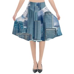 Tower Blocks Skyscraper City Modern Flared Midi Skirt by Celenk