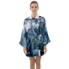 Tower Blocks Skyscraper City Modern Long Sleeve Kimono Robe by Celenk