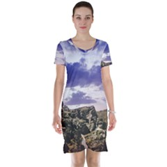 Mountain Snow Landscape Winter Short Sleeve Nightdress