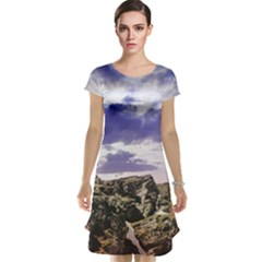Mountain Snow Landscape Winter Cap Sleeve Nightdress
