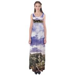 Mountain Snow Landscape Winter Empire Waist Maxi Dress