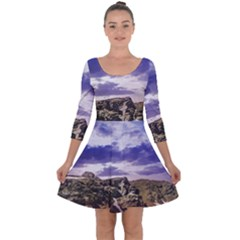 Mountain Snow Landscape Winter Quarter Sleeve Skater Dress
