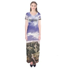 Mountain Snow Landscape Winter Short Sleeve Maxi Dress