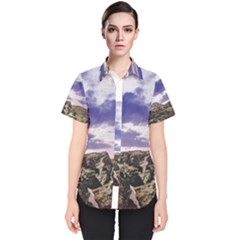 Mountain Snow Landscape Winter Women s Short Sleeve Shirt