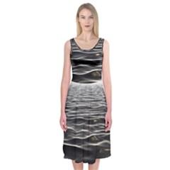 Texture Background Water Midi Sleeveless Dress by Celenk