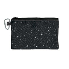Black Background Texture Stars Canvas Cosmetic Bag (medium) by Celenk